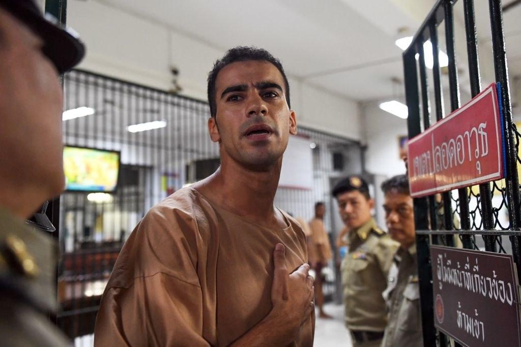 Hakeem al-Araibi is escorted to court in Bangkok on Feb. 4, 2019.