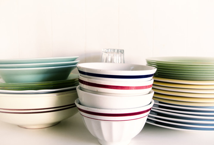 """Take a fresh look at every dish you own and see if it sparks joy,"" writes Kondo. ""Make the dishes you love the ones you use every day."" This means parting with dishes that you don't actually like, and actually using the ones that spark joy."