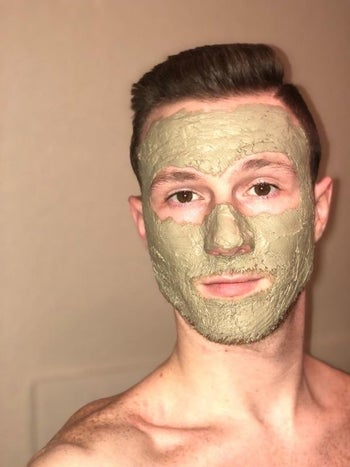reviewer wears Aztec Secret Indian Healing Clay Mask on face