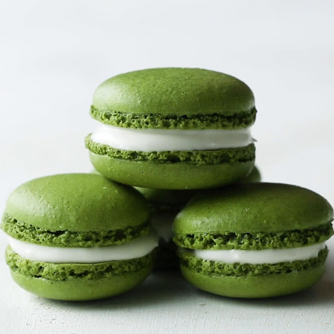 Matcha Macarons  -  Matcha can be found in the tea section of most grocery stores or easily  ordered online . It gives these macarons a bright green color and pop of green tea flavor.