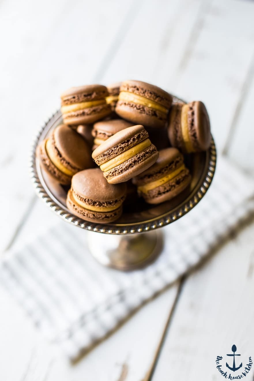 Chocolate Peanut Butter Macarons  -  Chocolate macarons filled with peanut butter buttercream?