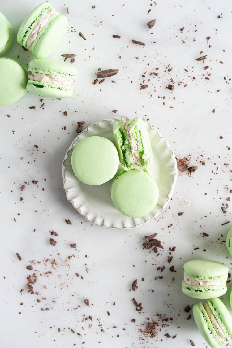 Mint Chocolate Chip Macarons  -  This macaron recipe — made with peppermint extract and chopped dark chocolate — tastes just like your favorite nostalgic ice cream flavor. Get the recipe .