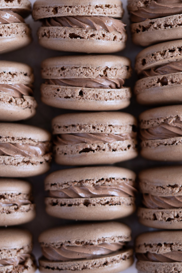 Chocolate Macarons With Chocolate Buttercream and Cherry Compote  -  If you love Black Forest cake, you'll love these macarons filled with chocolate buttercream and a tart cherry compote. Get the recipe .