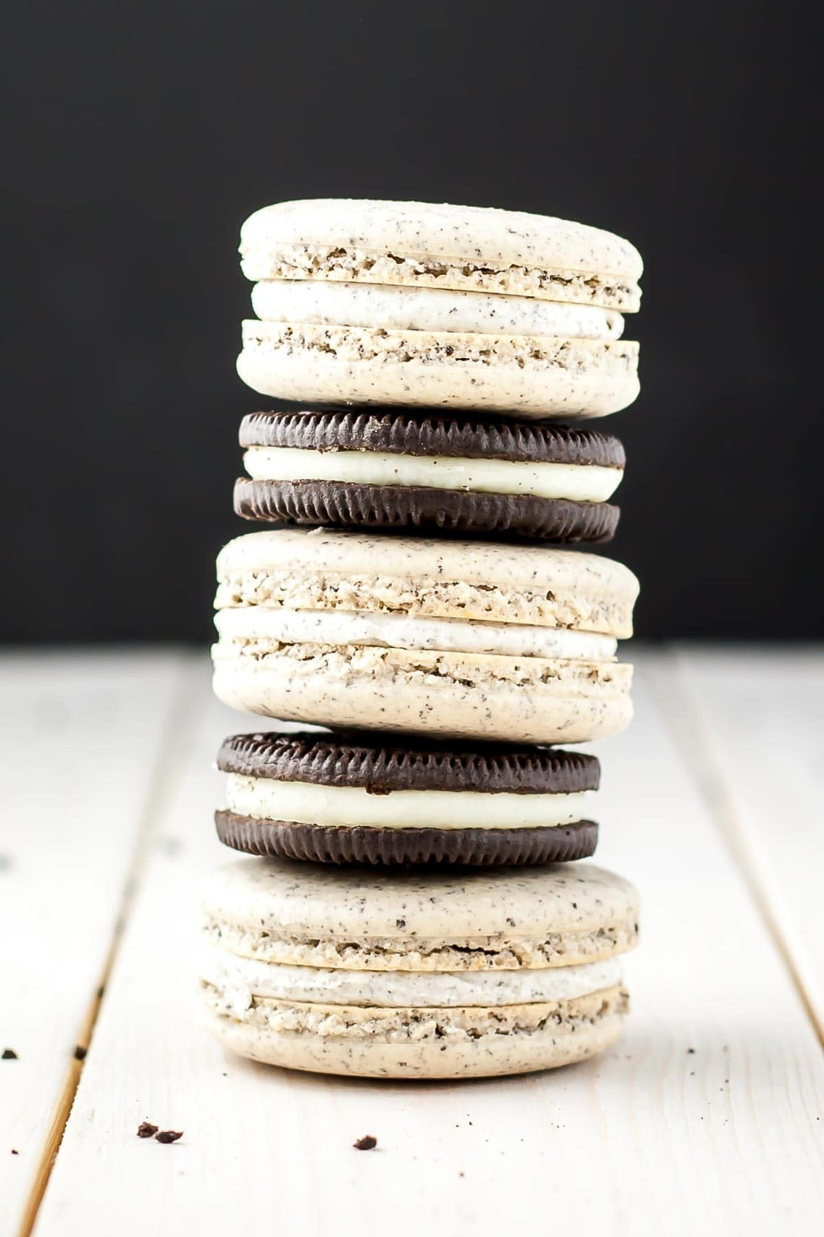 Oreo Macarons  -  The most time consuming part of this recipe is separating the Oreo filling from the cookies, but once you get past that you're golden. Get the recipe .