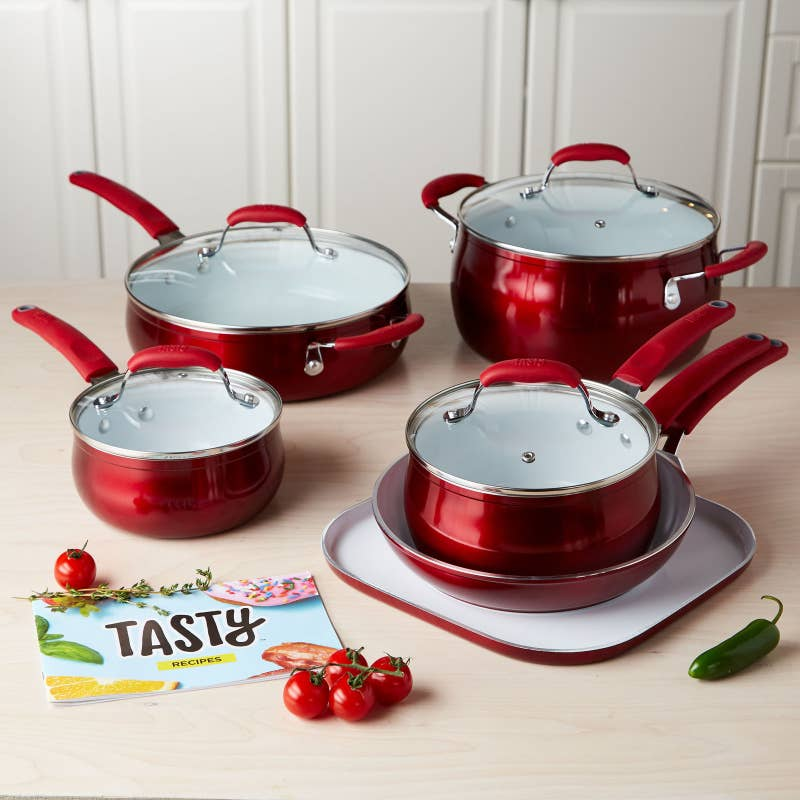 "Promising review: ""I was very hesitant about purchasing the white ceramic nonstick cookware because I always had the dark nonstick cookware in the past. Now, I will never go back. I've had these for over a month and used them about four or five days a week. Absolutely no problems whatsoever. I use a small amount of either olive oil, canola oil or butter to completely coat the cookware when cooking. I also let the pan preheat, but not too hot before adding anything and only use a Medium to Medium/High heat. The pans heat quickly and hold the heat very well. Chicken, pork chops and steak turn a nice crispy brown but the pans are a breeze to clean. Eggs, so far, just slide out of the pan. The cookware looks as new as the day I got them. "" —SunshineGet the 11-piece set from BuzzFeed's Tasty Collection for Walmart for $79."