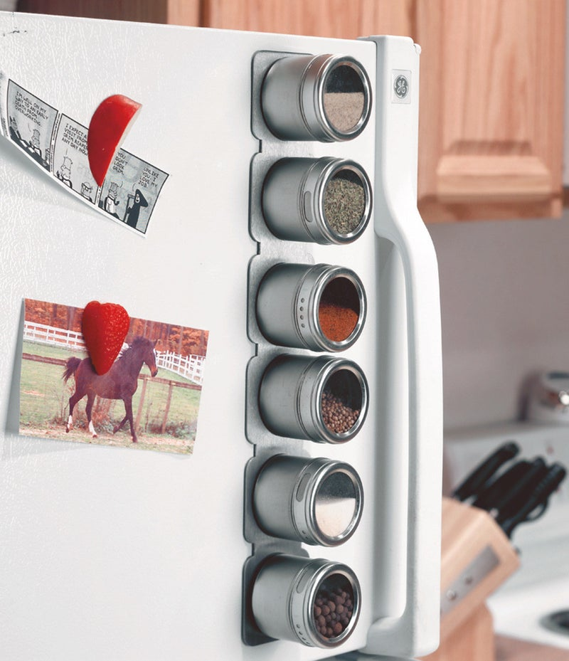 "The set of six comes with a metal strip you can mount on your wall or backsplash, too, if you like the idea of a magnetic spice rack but don't have space on your fridge! The jar tops turn to let you sprinkle or pour. Promising review: ""I absolutely love this spice rack! I have been searching for one that I didn't have to set on the countertop and get in my way. I mounted it on the wall just above the stove so the spices would be handy yet not in the way. The jars still magnetize to the holder and turn easily. This is definitely one of the best things I've ever bought!"" —Azgirl66Get the set of six from Walmart for $17.01."