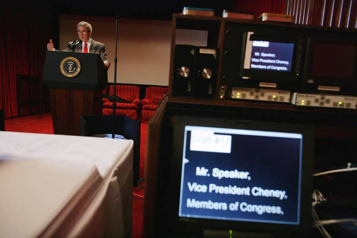 President George W. Bush rehearses his State of the Union address in the family theater of the White House on Feb. 1, 2005.