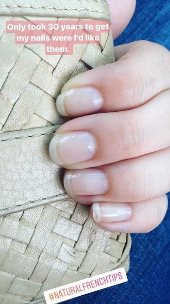 reviewer image of strong nails with text