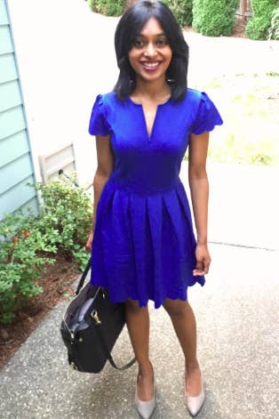 4cd5ef3ee86e A scalloped fit-and-flare dress so you can look fab without having to shell  out a lot of dough.