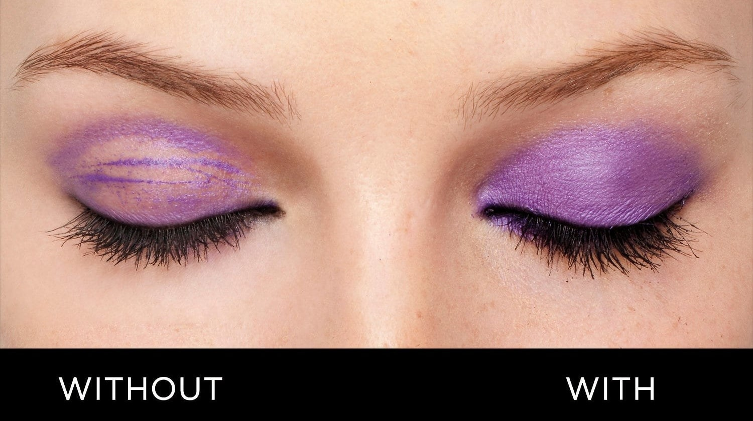 "One eye labeled ""without"" with eyeshadow caked and smeared and one eye labeled ""with"" with eyeshadow in place."