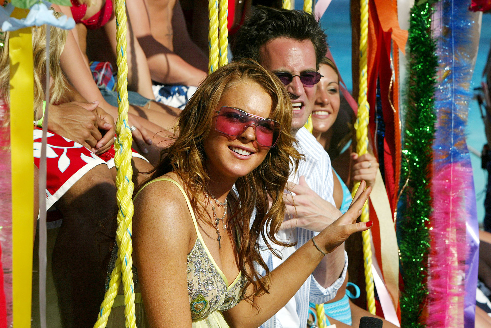Matthew Perry and Lindsay Lohan as MTV Spring Break onlookers.