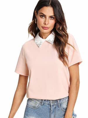 b8162210d78 A crop tee with a built-in collar to bring the glam. Amazon ...