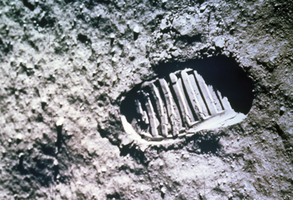 Since the moon has no atmosphere, there is no breeze to slowly erase footprints. They exist in a vacuum.