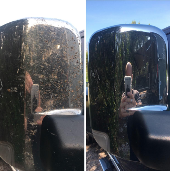 a before and after of a car mirror with bug splatter on it and then none left after using the product