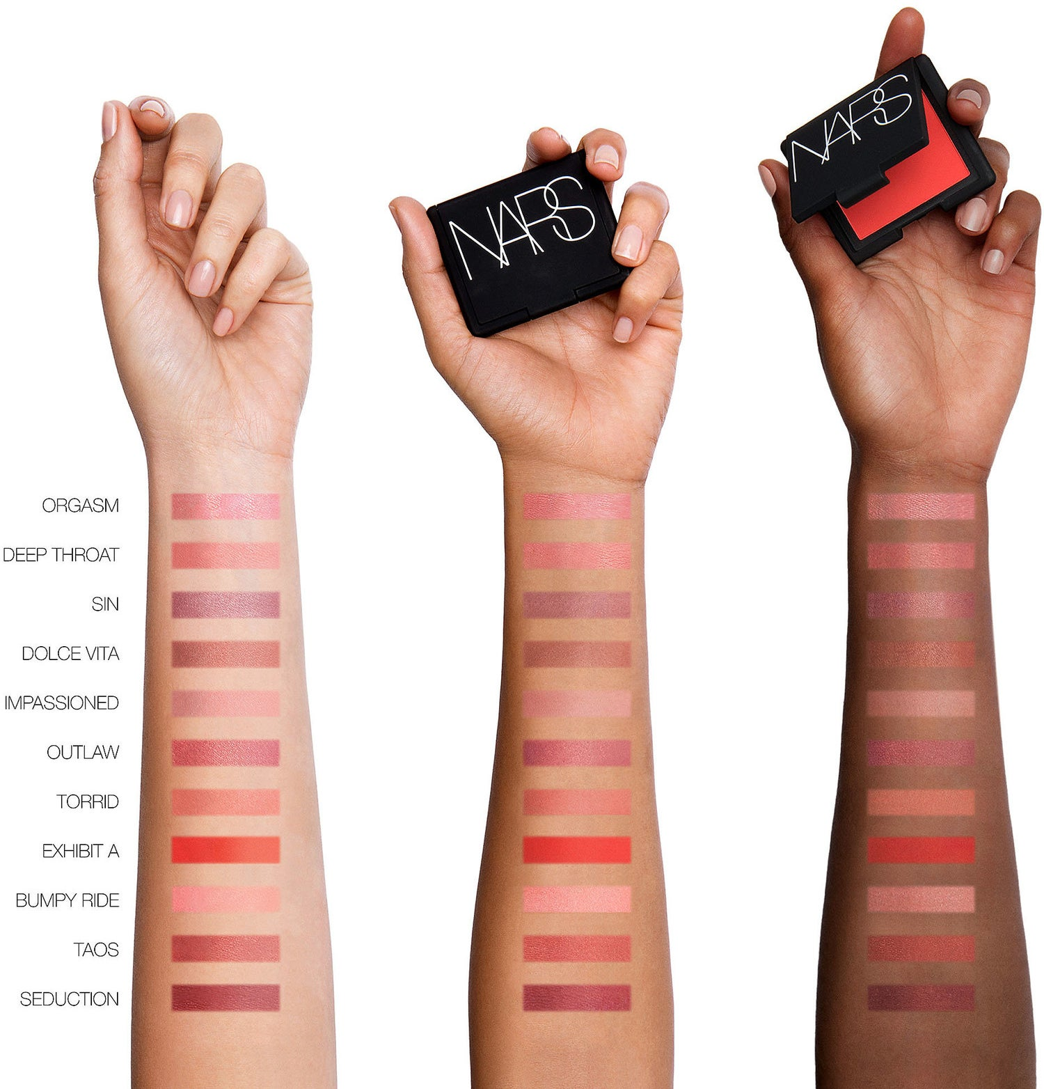 Nars's entire line of blushes shown on three different skin tones.