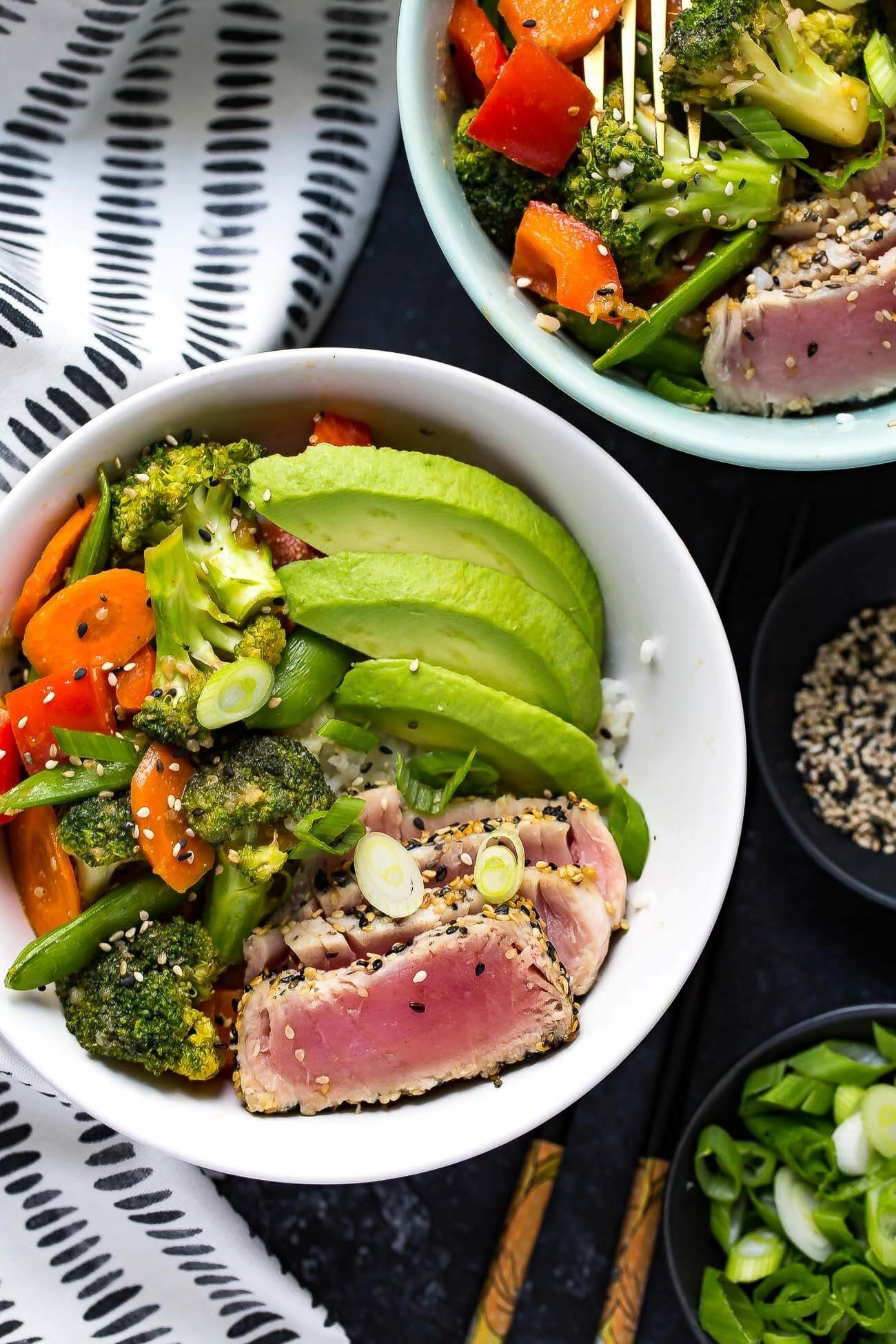Light and healthyish but full of flavor, these seared ahi tuna bowls are worthy of a special occasion. Get the recipe here.