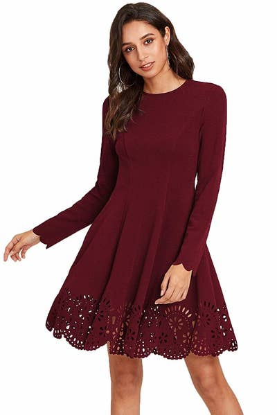 4cd59c5196df A swingy skater dress with laser-cut details so you'll never complain about  having nothing to wear to anything ever again. Seriously, this number will  make ...