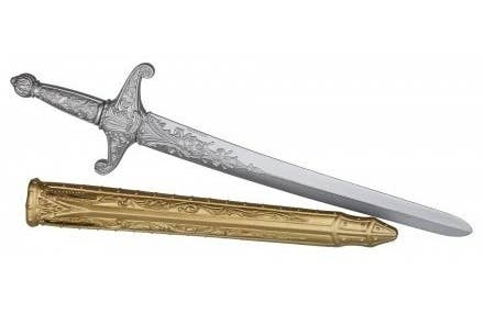 A silver plastic medieval sword with a gold sheath
