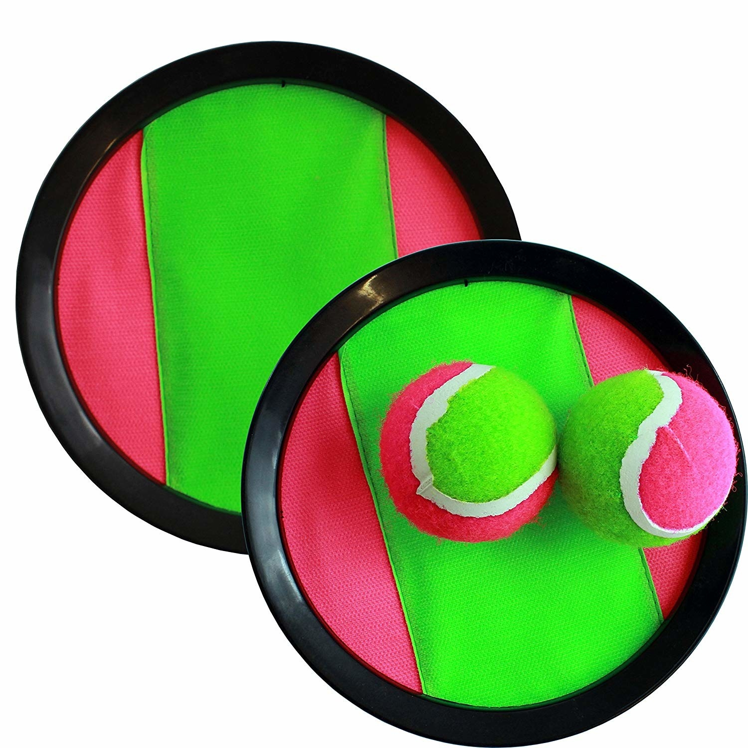A set of neon pink and green Magic Balls.