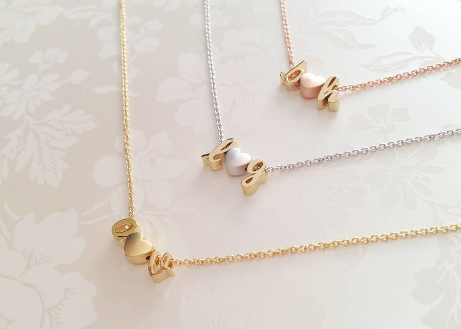 Personalized Couples Jewelry for Valentines Day or Anniversary Two Initial Necklace with Heart or Ampersand Gold or Silver Letter Necklace