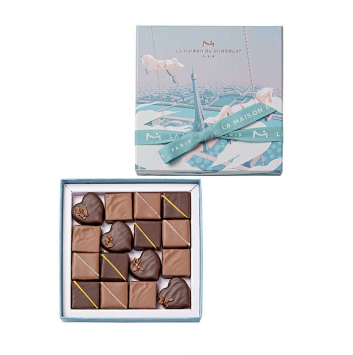 """Parisian Dream is the theme of La Maison du Chocolat's Valentine's collection this year. The collection is comprised of """"I'm Crazy About You"""" Heart (traditional almond and hazelnut praline topped with an ivory chocolate plaque), Beaucoup de Caramel (silky caramel), Crazy About Praline (classic praline with almonds and hazelnuts), Passionate About Chocolate (dark chocolate ganache wrapped in a delicate layer of chocolate with passionfruit), and Over The Top (milk chocolate marshmallow enhanced with bourbon vanilla)."""