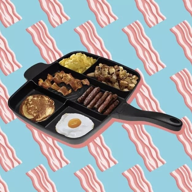 """Promising review: """"Now that I have cooked a few meals with this pan, I can honestly say that I will no longer be needing all my other pans. It just does it all. Cooking multiple ingredients at the same time and then infusing them together to mix the flavors is something that I have never been able to do before. Keep the pan at a medium heat to always get the best cook because food cook differently and you can take your time in preparing your meal. I recommend this to pretty much anyone that likes to cook and mostly to the ones that dread it! A++"""" —Dan SGet it from Amazon for $45.82."""