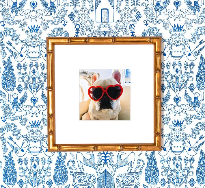 square framed pic of a french bulldog wearing heart shaped glasses with a frame that looks like it's made from bamboo