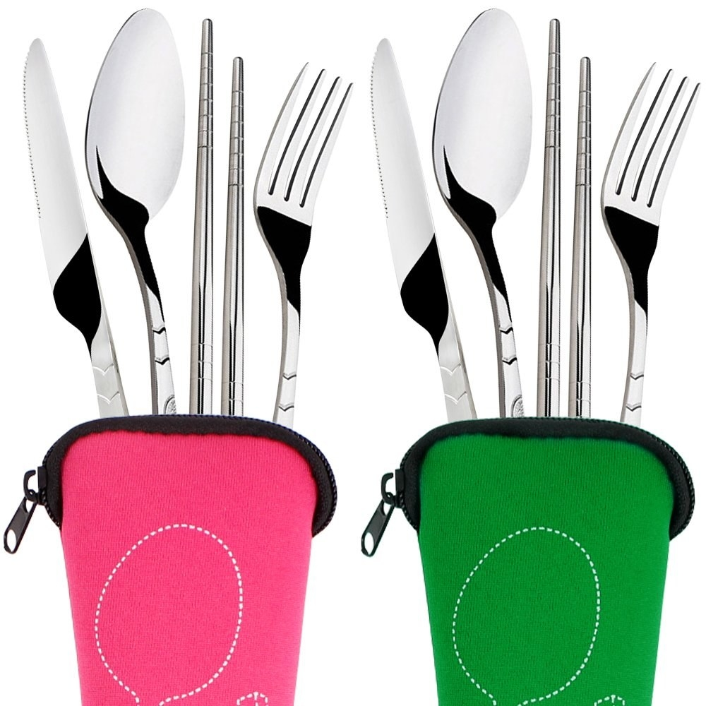 two fork, butterknife, spoon, and chopstick sets each in their respective pink or green zipper pouch