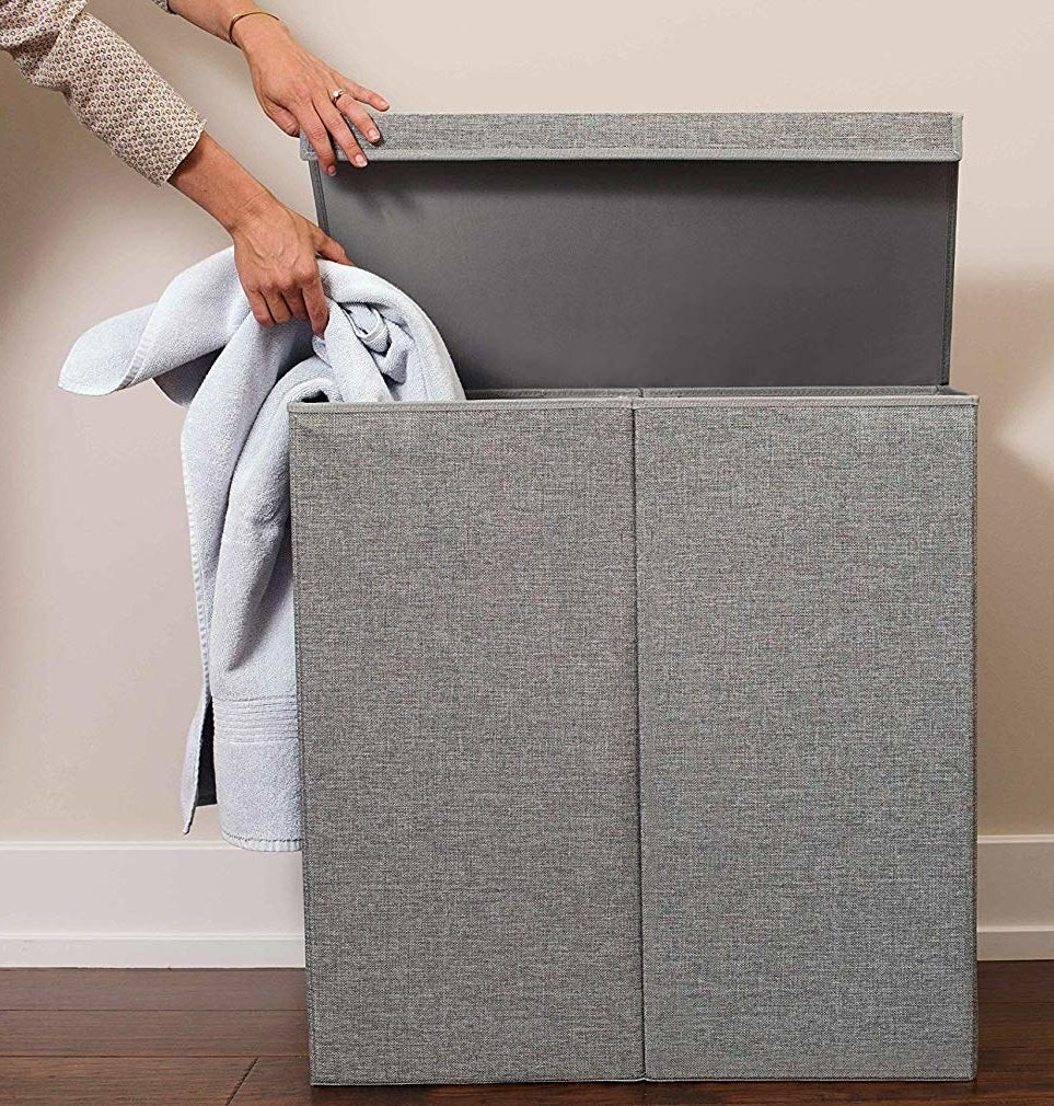 gray hamper with two sides