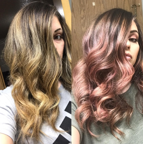 A reviewer's before and after photos showing brown and golden hair in the first image and maroon and pink hair in the second