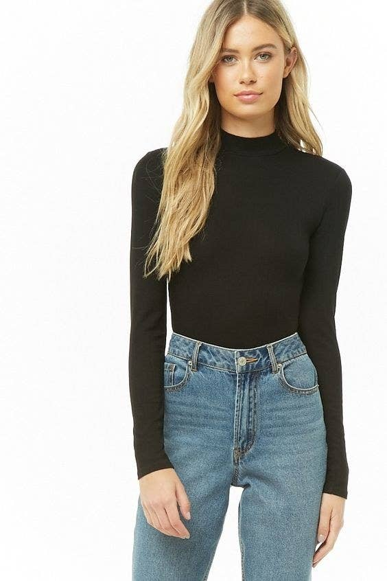 655f92ef913baf A ribbed mock-neck crop top that'll quickly become your favorite basic. I  believe your high-waisted jeans just found their soulmate. Forever 21