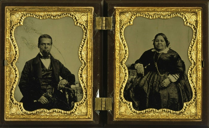 A double ambrotype portrait of Albro Lyons Sr. and Mary Joseph Lyons from the 19th century. The Lyonses owned and operated a home for black seamen, which also served as a station on the Underground Railroad. Albro Lyons and his family were attacked and forced to flee New York City due to racially motivated violence during the Draft Riots prior to the start of the American Civil War.