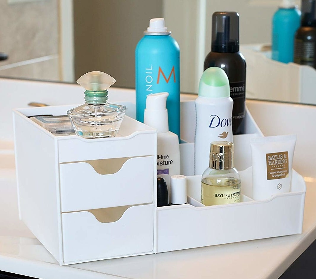 white organizer with two drawer and eight spots for products