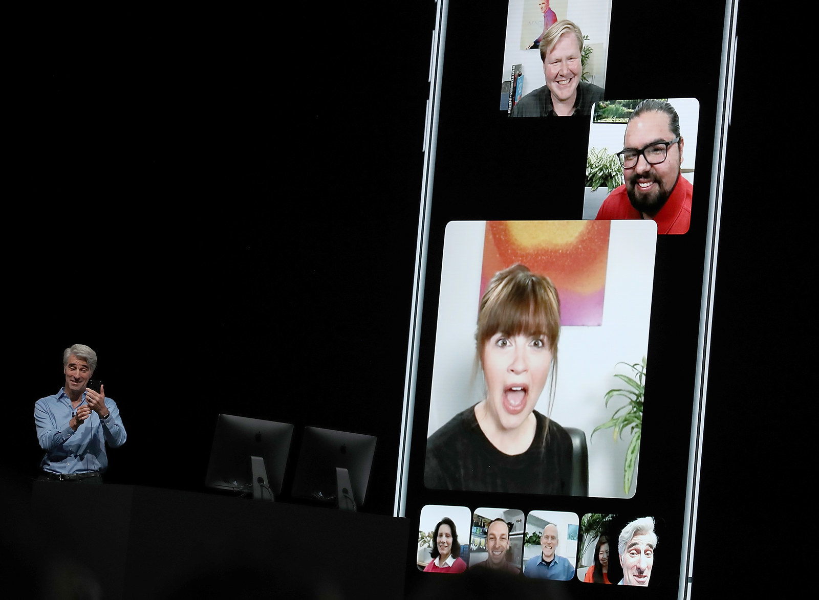 Apple's Craig Federighi demonstrates group FaceTime during the 2018 Apple Worldwide Developer Conference on June 4, 2018 in San Jose, California.