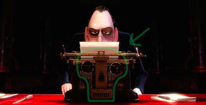 In Ratatouille  , critic Anton Ego's typewriter is shaped like a skull to foreshadow his harsh, restaurant-killing reviews.