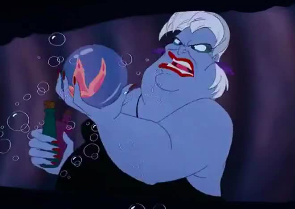 "The potion Ursula takes to transform in The Little Mermaid has a butterfly in it. Her human name is ""Vanessa,"" which is a genus of  butterfly ."