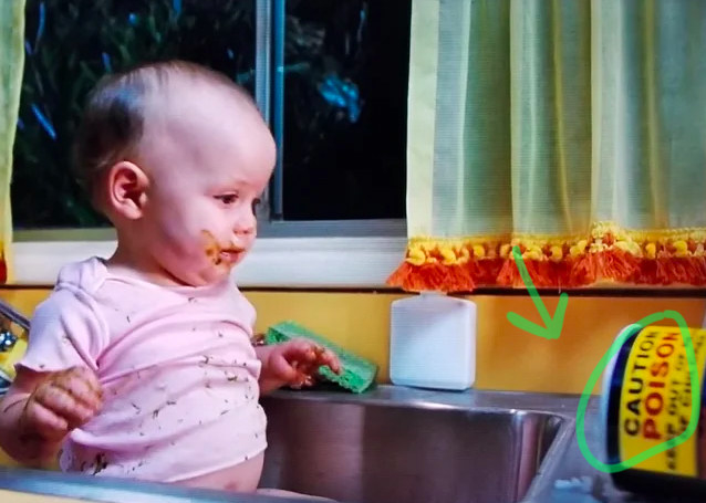 A knocked over bottle of LITERAL poison can be seen next to the sink in Matilda while her mom is bathing her, an early indicator of the parents' negligence and disdain for their daughter.