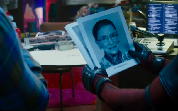 "When riffling through applications for the X-Force in Deadpool 2  , you can see Ruth Bader Ginsberg's headshot with ""Notorious R.B.G."" written underneath as her superhero name."