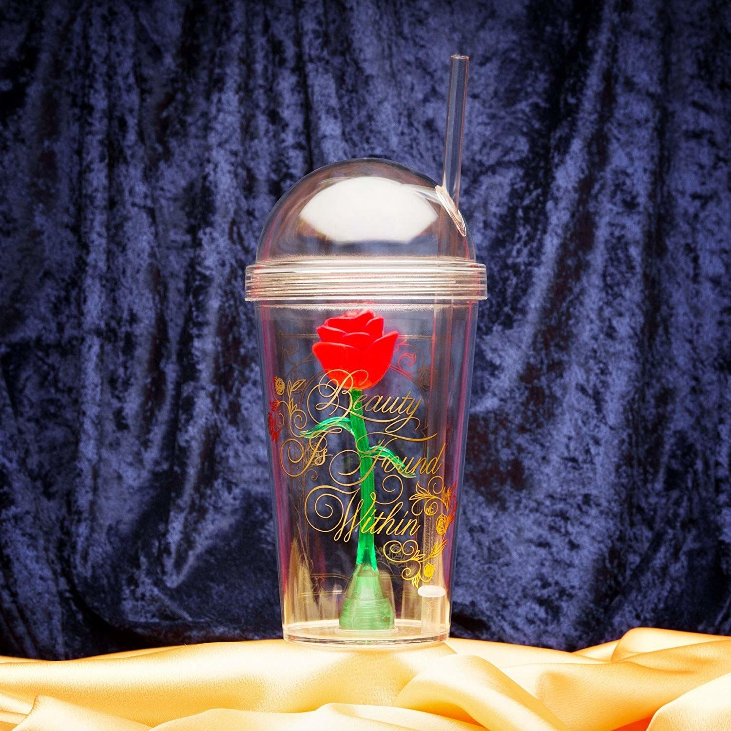 clear tumbler with rose inside