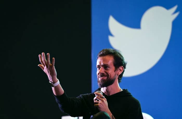 Twitter CEO and co-founder Jack Dorsey gestures while interacting with students at the Indian Institute of Technology (IIT) in New Delhi on November 12, 2018.