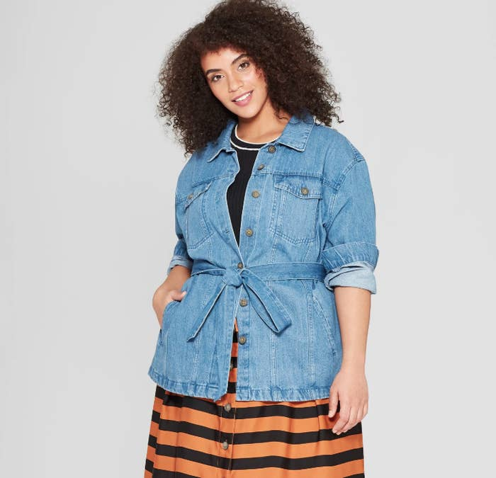 e45e11e21 A belted denim jacket you can rock on those warmer winter days...or with  added layers so you NEVER have to take this beauty off.