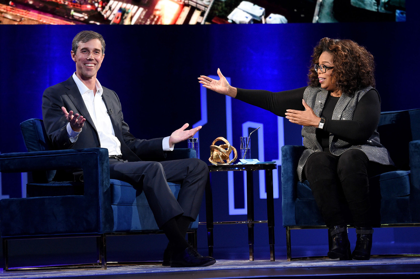 Beto O'Rourke and Oprah Winfrey speak onstage at Oprah's SuperSoul Conversations on Feb. 5, in New York City.