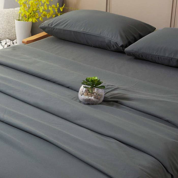 """If you're one to suffer from seasonal allergies, then this set is for you! The entire set is hypoallergenic AND fade-, stain-, and wrinkle-resistant. Promising review: """"Finally, a set of soft sheets that won't make you sweat on a hot summer day! I have been through countless sheets that are crispy, rough, or just too darn small for my pillow top queen, but these are perfect. They have a flannel-like softness without the heaviness, and I did not sweat in them despite the recent humidity. I also love how they fit my monster of a mattress. These fit around all corners without me pulling a muscle stretching them, and it stays in place! I plan on buying another set of these soon."""" —BagelbudgieGet a full set (flat sheet, fitted sheet, and pillowcases) from Amazon for $25.90+ (available in twin—Cal king and nine colors)."""