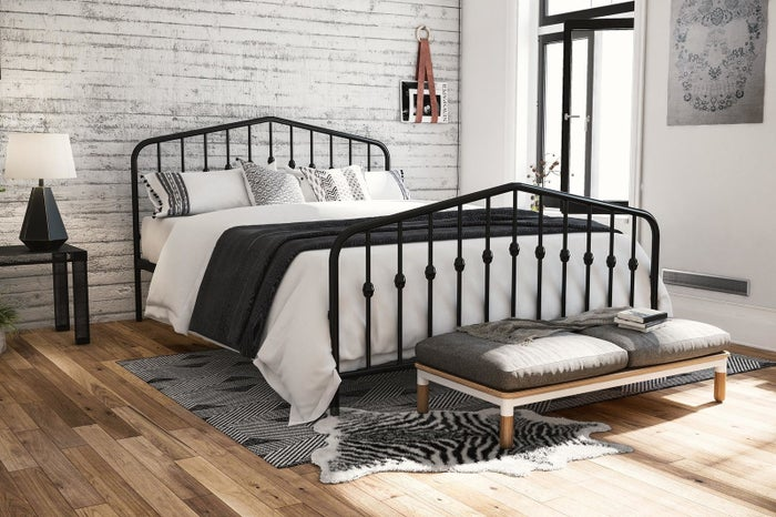 """Promising review: """"Had this bed for almost a year. I use it without a boxspring since it has a base. Super comfy. No squeaks or weird noises when getting in or out of the bed. It was easy to put together, but I would recommend two people. For the price, this is wonderful. Might get a second one for my guest room. Nice design. I didn't think I would love it as much, but I do (my wife picked it out). It worked for our space. The frame is pretty light by itself so will be easy to move if you need to after assembly."""" —AmPrice: $129+ (available in sizes full-king and four colors)"""
