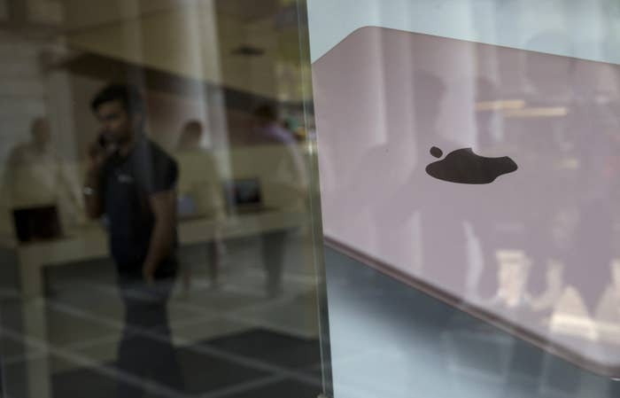 Apple's iPad advertisement at a store in New Delhi, India, in 2016.