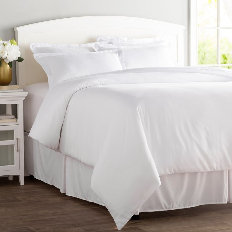 """The set comes with the duvet cover and shams. Promising review: """"For the price, you really can't beat this cover. I wash it with the rest of the sheets (I can't help it; I let the dog sleep in the bed), and I figured worst case, I could always replace the cover instead of the $100+ down comforter, but so far after five or more washes, this thing seems to come out cleaner than the sheets. No pre-treatment for dirt stains required. Pleasantly surprised."""" —SarahPrice: $18.88+ (originally $79.99+, available in three sizes and 11 colors)"""