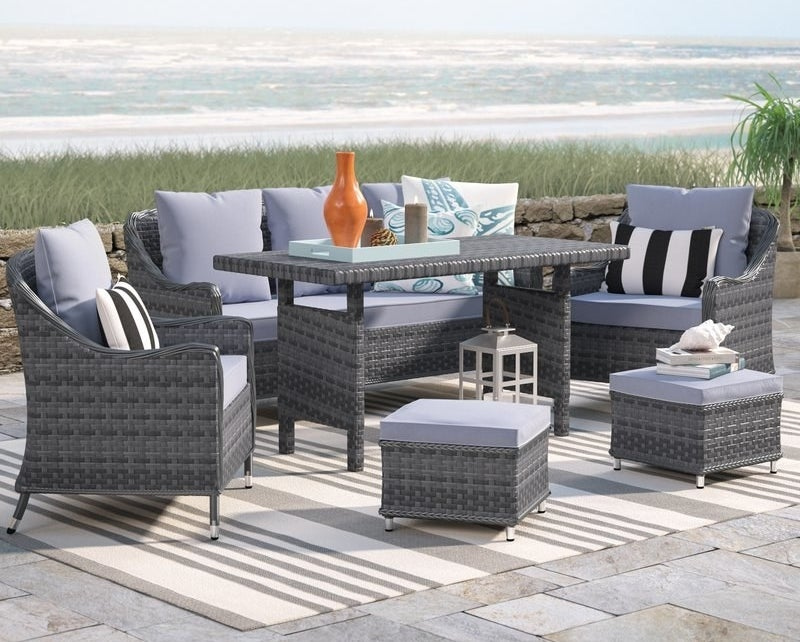 """Promising review: """"The outdoor set was just what we were looking for. It came in perfect condition and had minimal set up. The grey cushions are comfortable and furniture is sturdy. My daughter has already spilled pink smoothie on the cushions and they easily wiped clean with a dry towel. It seems like the fabric is very stain resistant."""" —AmandaPrice: $1,289.99 (originally $3,226.20)"""