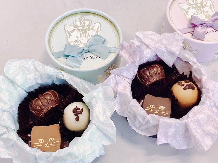 ブルーの方には紅茶トリュフやキャラメル風味のチョコ、モーブ(薄紫)にはカフェオレトリュフやチョコレートクリームなどのチョコが入っています。
