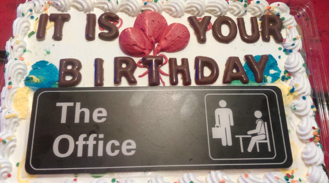 customer image of the sign put on a cake