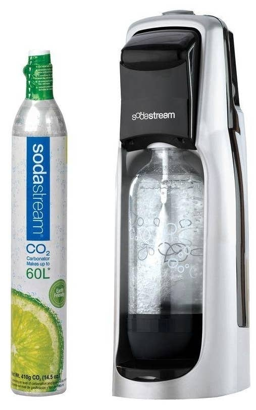 """This starter kit includes the base, a CO2 cylinder, and a one-liter bottle — everything you need to get sparkling!Promising review: """"I absolutely LOVE my Sodastream. I immediately carbonated my first bottle of seltzer and continued refilling it for a week. I drink a LOT of seltzer, so I went ahead and ordered an extra two-pack of one-liter bottles so that I could always have two bottles of seltzer on hand. I also bought diet cola and diet rootbeer syrup for the occasional flavored soda. I also mix juices in with my seltzer. Delicious! I love that it helps the environment and I don't have to lug heavy bottles or constantly be packing them up to put out. Sodastream is AWESOME! Delicious soda, easy to use, conveniently small, no electricity required and everything you could possibly need right at your fingertips on Amazon."""" —Amazon CustomerGet it from Amazon for $79.99."""